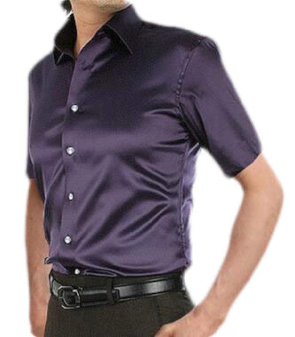 Keaac Mens Summer Slim Fit Short Sleeve Satin Solid Button Down Dress Shirt