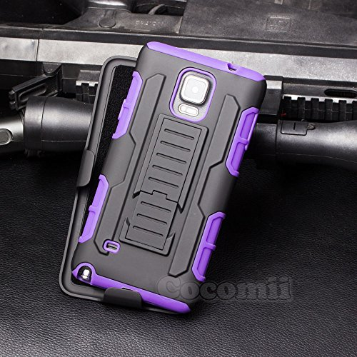 Galaxy Note 4 Case, Cocomii Robot Armor NEW [Heavy Duty] Premium Belt Clip Holster Kickstand Shockproof Hard Bumper Shell [Military Defender] Full Body Dual Layer Rugged Cover Samsung (Purple)