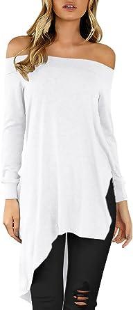 Mujer Camisas Manga Larga Elegantes Camisetas Largas Hombros Descubiertos Blusas Otoño Anchas Informal Asimetricas Abiertas T Shirt Color Sólido Hipster Tops Blusones: Amazon.es: Ropa y accesorios