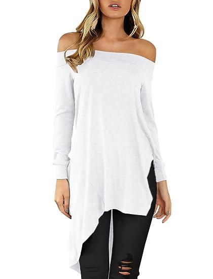 Mujer Camisas Manga Larga Elegantes Camisetas Largas Hombros Descubiertos Blusas Otoño Anchas Informal Asimetricas Abiertas T Shirt Color Sólido Hipster ...