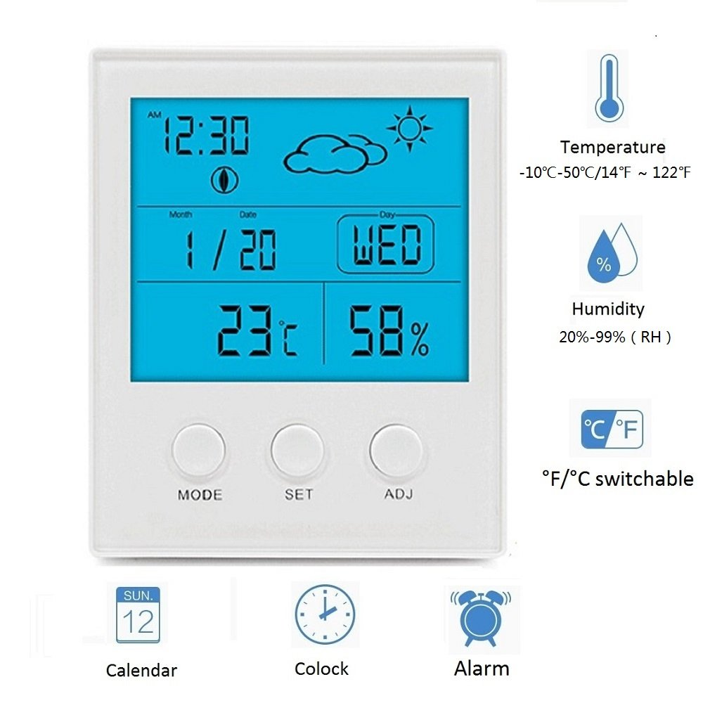 WERSHOW Hygrometer Thermometer, Digital Humidity Monitor with Temperature Monitor, Indoor/ Outdoor Thermometer, Probe, Temperature Gauge Humidity Meter Battery Included(White)
