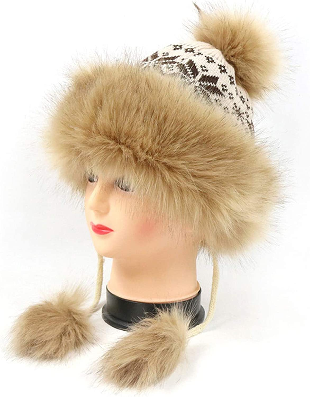 MingDe Sports Lady Luxury Winter Fleece Lined Bobble Beanie Hat with Faux Fur Trim and Pom Pom