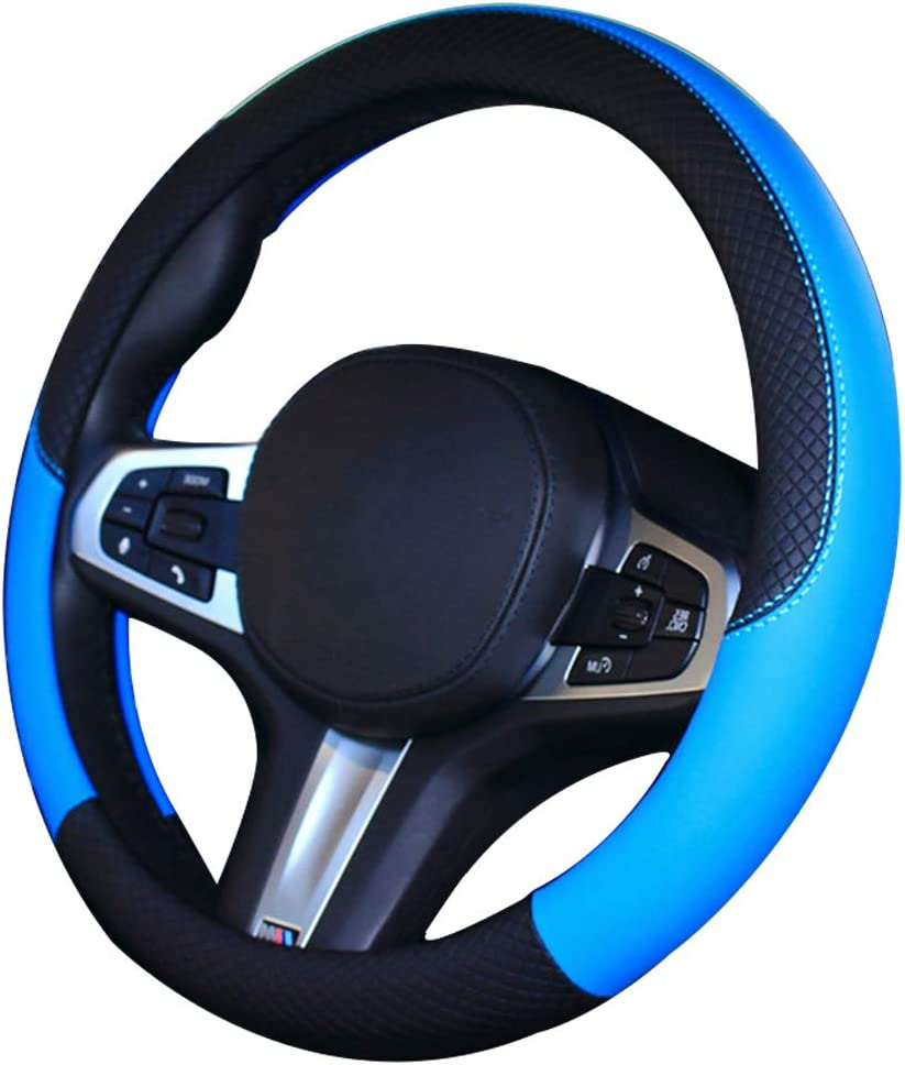 Blue coofig Car Steering Wheel Cover with Durable PU Leather,Universal 15 inch Fit for Car Truck SUV,Breathable Anti Slip Auto Steering Wheel Covers for Men and Women