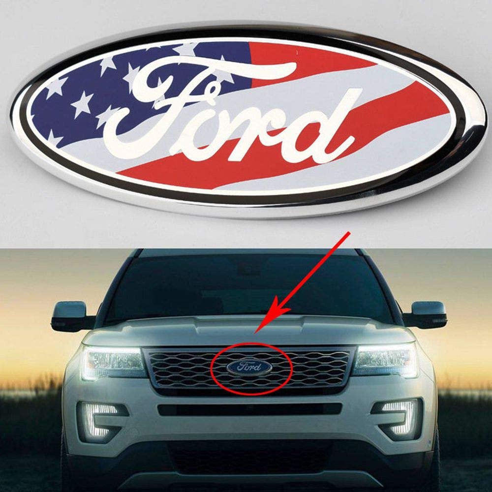 2004-2014 Ford F150 Front Grille Tailgate Emblem, Oval 9'X3.5', American Flag Decal Badge Nameplate Also Fits for 04-14 F250 F350, 11-14 Edge, 11-16 Explorer, 06-11 Ranger Oval 9X3.5 Diycarhome