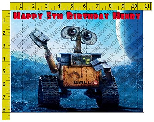 (Wall-E Movie Personalized Birthday Edible Frosting Image 1/4 sheet Cake Topper)