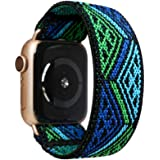 Tefeca Blue Triangle Line Pattern Elastic Compatible/Replacement Band for Apple Watch