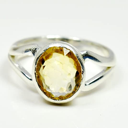 faceted Citrine ring 92.5 sterling silver size 6.25 with option to resize