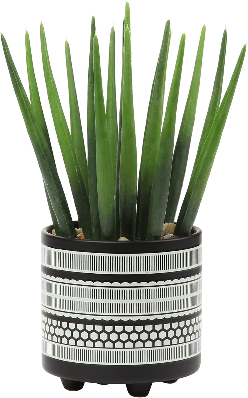 Artificial Succulent Plant Faux Aloe Plant in Elegant Ceramic Pot Planter Lifelike Fake Potted Cactus Plants for Bathroom Home Office Shelf Desk House Decor