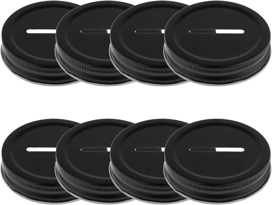 iiniim 8pcs Stainless Steel Metal Coin Slot Bank Lid Inserts for Mason Jars Canning Jars Black One Size