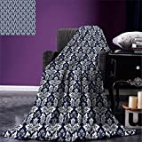 smallbeefly Damask Digital Printing Blanket Antique Floral Ornament with Baroque Style Curls Curves Foliage Nature Theme Summer Quilt Comforter Navy Blue White
