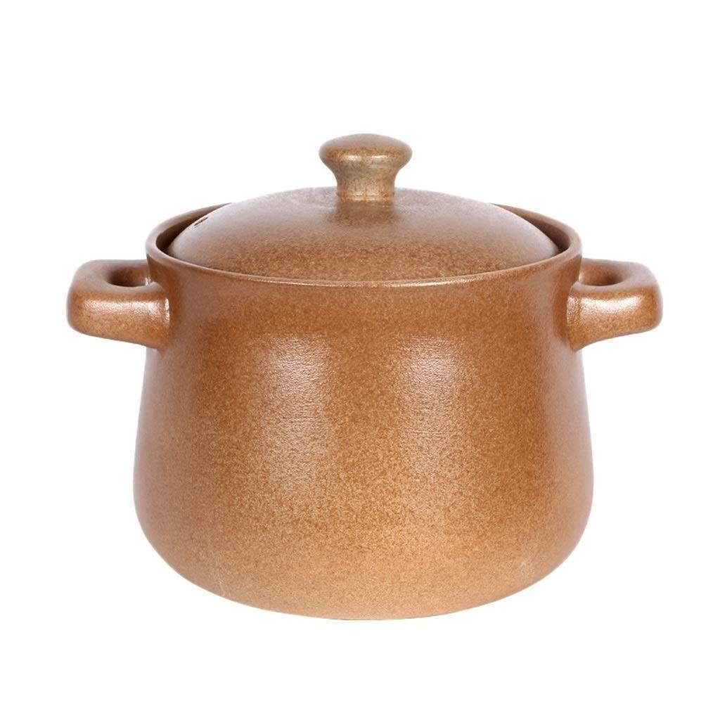 SHICCF Household Casserole Old-Fashioned Health-Resistant High-Temperature Earthenware Pot Pregnant Baby Flattening Stew Pot Handmade Fire Porridge Pot Soup Pot(Size:3.2L, 4.5L, 5.0L, 6.2L) by SHICCF