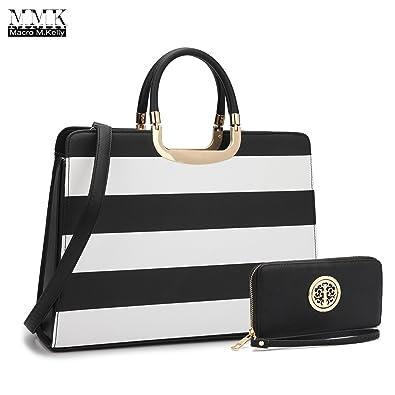 3314af6542 MMK Collection Fashion Pad-lock Satchel handbags with wallet 8808)~Designer  Purse