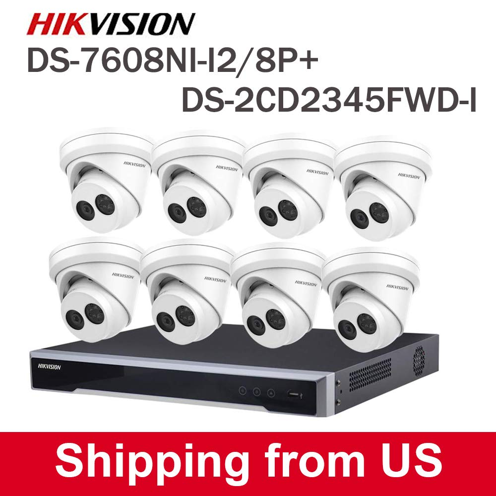 HIKVISION PoE HD Network Video Surveillance System, DS-7608NI-I2/8P+DS-2CD2345FWD-I 2.8MM(8PCS), Plug and Play, H.265+(HDD Not Included) by HIK-Tech US