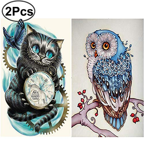 2 Pack 5D Diamond Painting DIY Rhinestone Embroidery Full Round Drill Diamond Painting Set Full Drill Kit Cross Stitch Painting for Living Room by Standie (30 x 40 cm Black Cat & Owl)