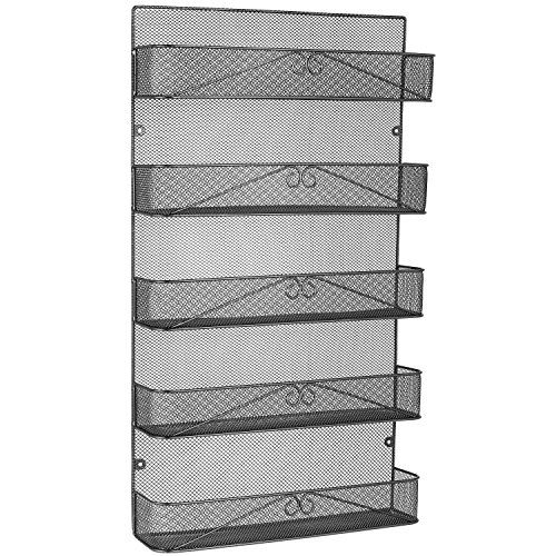 3S Spice Rack Organizer Wall Mount for Cabinet Pantry Door,Hanging Spice Shelf Full Cover,5-Tier,Black