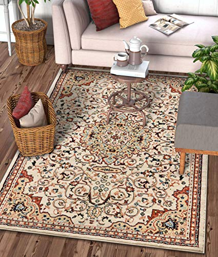 Well Woven Alexa Ivory Modern Medallion Area Rug Updated Traditional Persian Style 8x10 8x11 (7