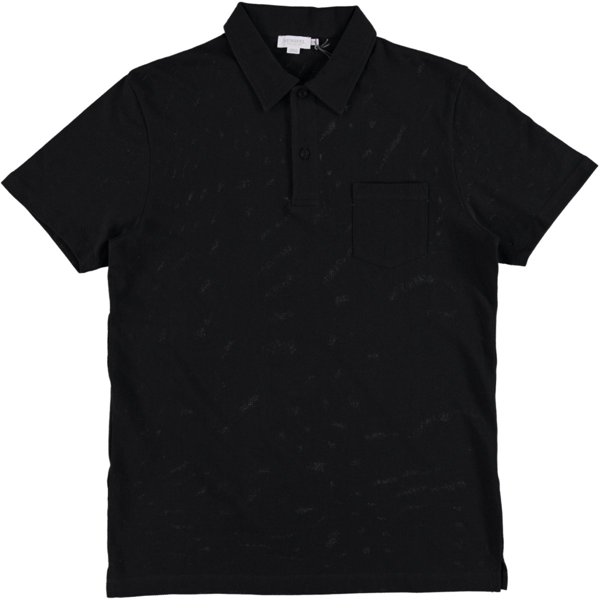 Sunspel Men's Short Sleeve Riviera Polo Shirt, Black, X-Large