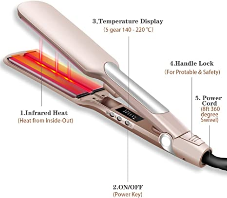 Infrared Hair Straightener UKLISS 2 Inch Tourmaline Ceramic Flat Iron 220C with Adjustable LCD Temperature Dual Voltage UKLISS