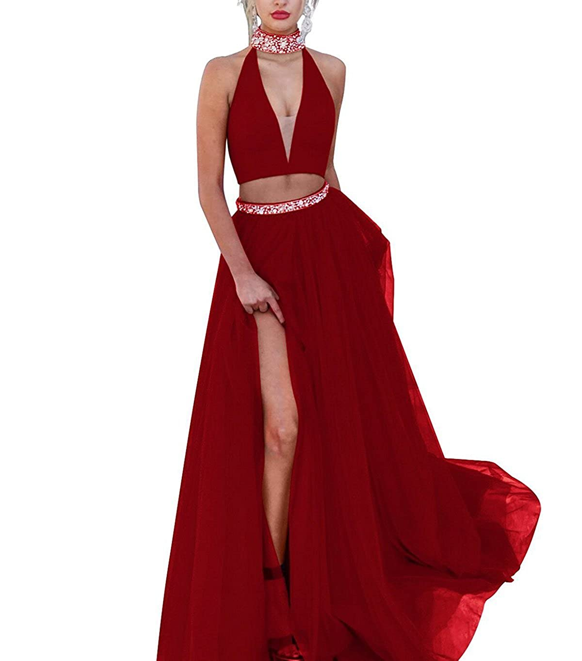 Burgundy MariRobe Women's 2pc Crystals Halter Neck Double V Neck Split Tulle A Line Prom Dresses
