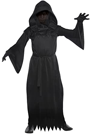 Boys Grim Reaper Halloween Fancy Dress Costume Child Black Ghoul Executioner NEW