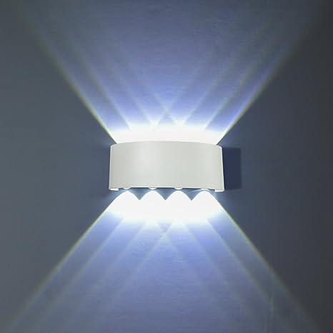 Flydeer Modern Wall Sconce Lights 8w Led Room Wall Lights Up Down Aluminium Wall Lighting Lamps For Living Room Bedroom Corridor White White Light Amazon Com