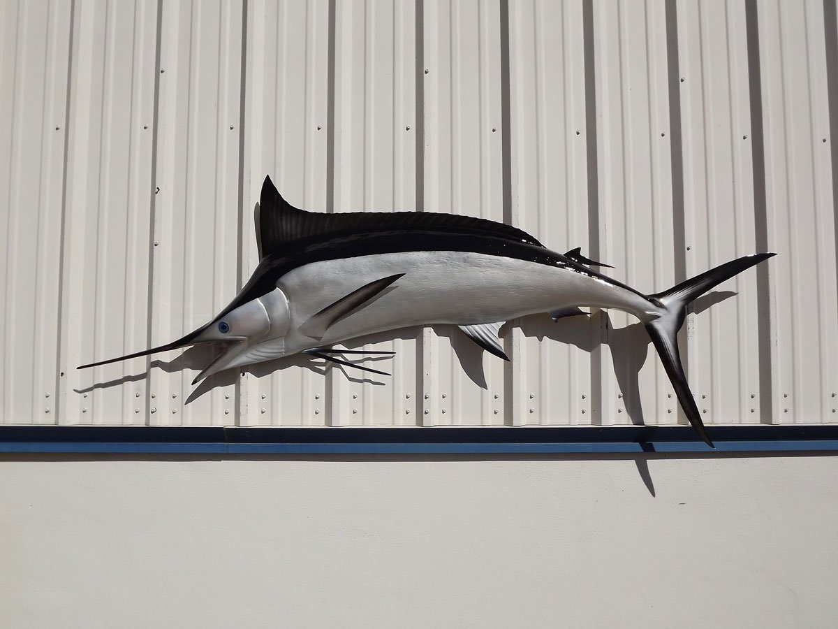95'' Black Marlin Half Sided Fish Mount Replica, Affordable Coastal Decor - Indoors Or Outside