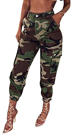 JYZJ-Women Multi-Pockets Belted Camouflage  Jogger Pants Casual Cargo Camo  Pants at Amazon Men s Clothing store  cd0f874c3