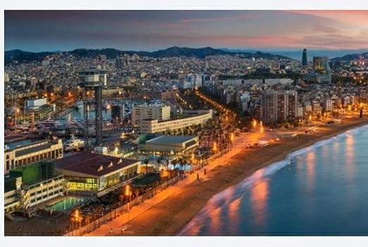 ClassicJP Rompecabezas Rompecabezas 1000 Piezas Puzzles Playa De Barcelona En La Mañana Amanecer con La Ciudad De Barcelobna Y El Mar Desde La Azotea del Hotel España Puzzle DIY Art: Amazon.es: Hogar