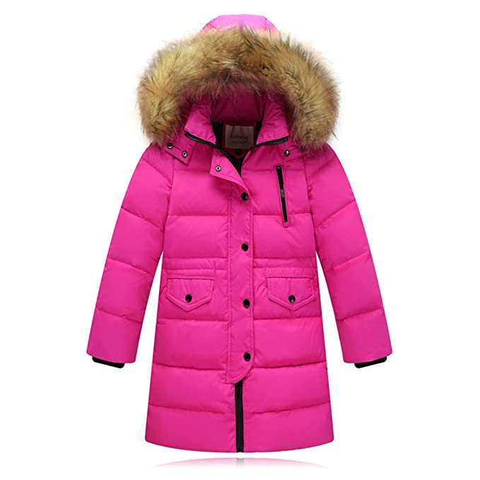70053ac17 Baby Boys Down Jacket With Fur Hood Girls Colorful Long Winter ...