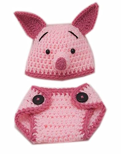Amazon Piglet Cartoon Cute Animal Shape Crochet Baby Hat And