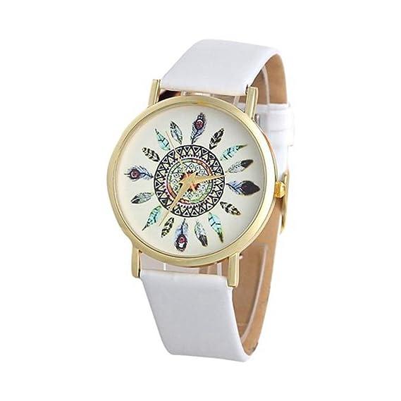 Poto 2017 nueva moda para mujer Vintage pluma banda de cuero Dial cuarzo analógico únicos relojes de pulsera.: Amazon.es: Relojes