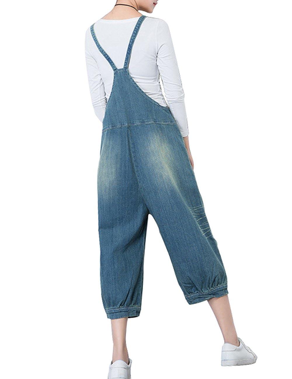 Zoulee Womens Casual Cowboy Pants Bib Overalls Zipper Jumpsuits Rompers Pants