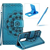 Rope Leather Case for LG K4 2017,Strap Wallet Case for LG K4 2017,Herzzer Bookstyle Classic Elegant Mandala Flower Pattern Stand Magnetic Smart Leather Case with Soft Inner for LG K4 2017 + 1 x Free Blue Cellphone Kickstand + 1 x Free Blue Stylus Pen - Blu