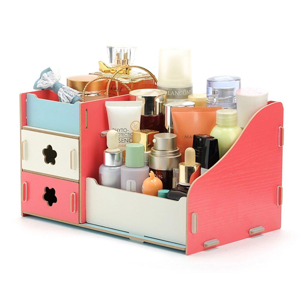 Techinal DIY Makeup Cosmetic Organizer Case Holder, Wood Storage Box, Stationery Organizer for Desk Decor