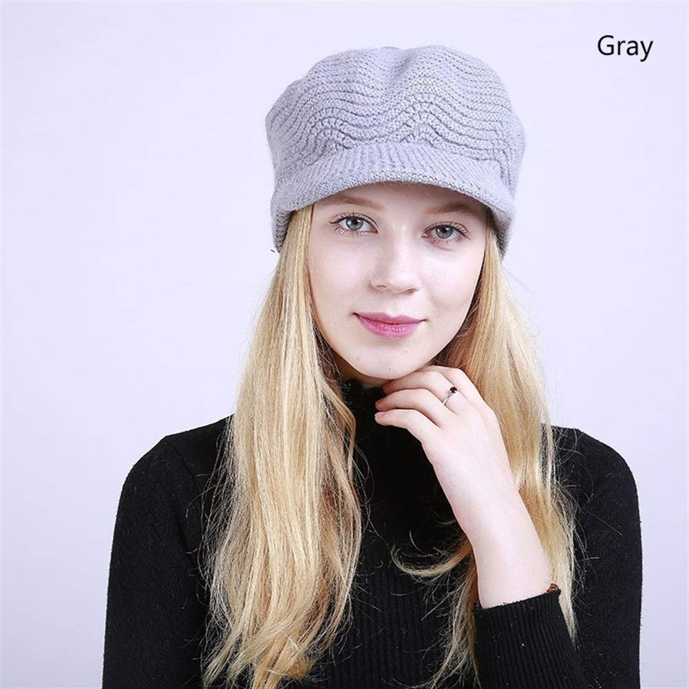Fashion Winter Knitted Warm Newsboy Hat For Women Octagonal Cap Girl Knitted Winter Caps Women Casual Flat Hats (Color : Gray, Size : M) by ERNANGUA