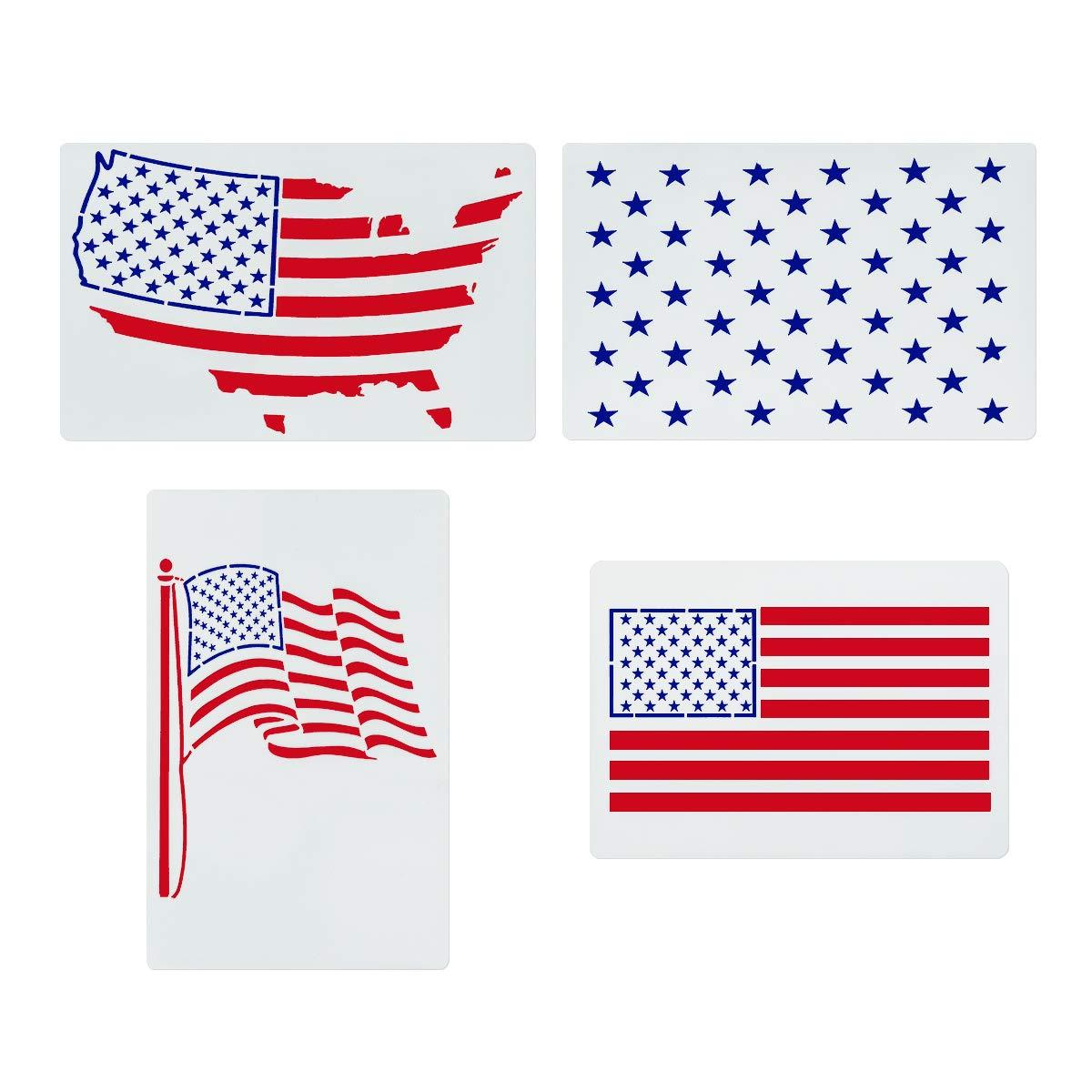 星型ステンシル アメリカ国旗柄 4枚セット - アートペイントテンプレート スクラップブック/製図/トレース/DIY家具/壁/床の装飾に   B07QC16BDH