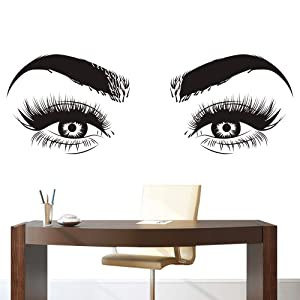 Lashes Eyes Eyebrows Vinyl Wall Sticker Beatuy Salon Bedroom Removeable Decal Eyelashes Living Room Home Decoration Art Poster ZX398 (57x155cm, Black)
