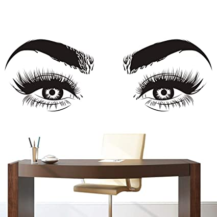 37f8de6d4fe Image Unavailable. Image not available for. Color: Lashes Eyes Eyebrows Vinyl  Wall Sticker Beatuy Salon Bedroom Removeable Decal ...