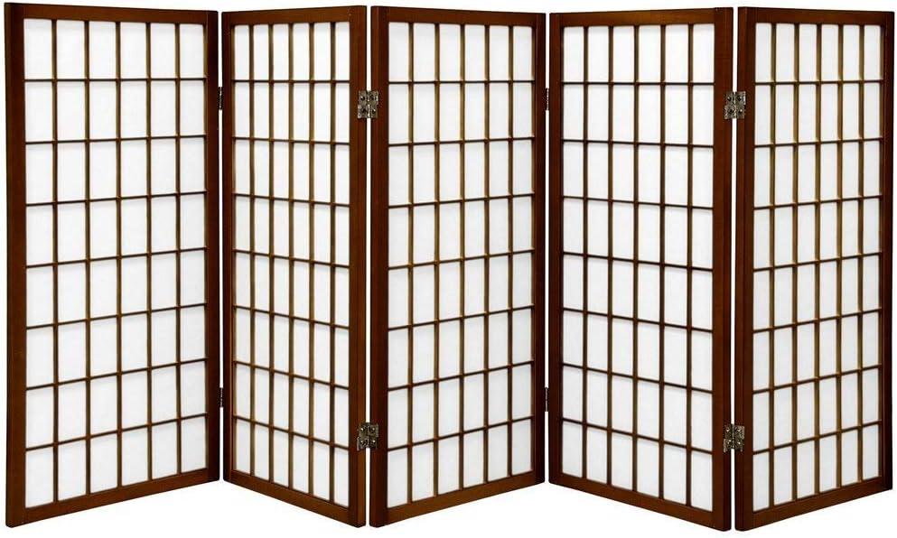 Oriental Furniture 3 ft. Tall Window Pane Shoji Screen - Walnut - 5 Panels