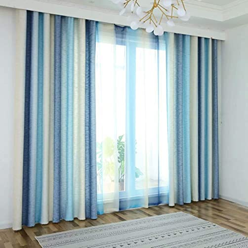 MacoHome Stripe Curtain Decorative Linen Room Darkening Window Treatment Blue Blackout Drapes for Living Room, Blue, 100 x 102 inch x 1 Panel