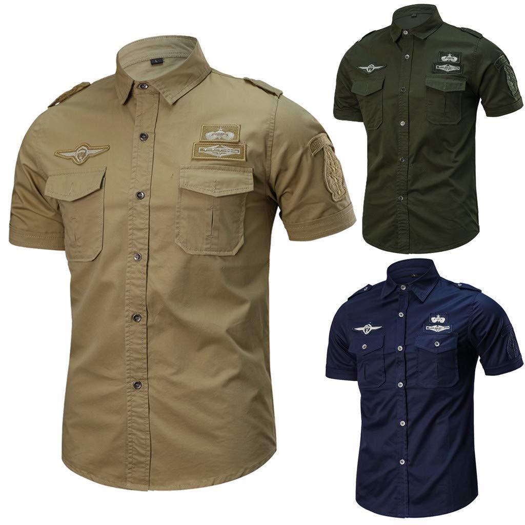 SFE Men Fashion Designer Dress Shirts Slim Fit Button-Down Short Sleeve Shirt for Work with Pocket