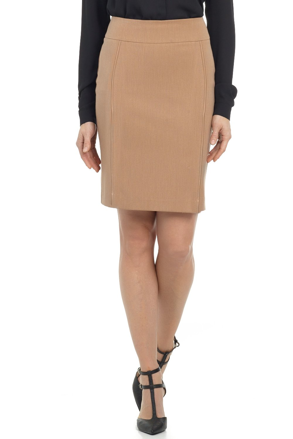 Rekucci Collection Women's Ease in to Comfort Pull-on Pencil Skirt with Piping (6,Camel)