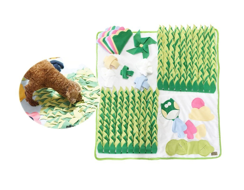 Dog Snuffle Mat Phytoncide Patch Nose Work Traning Mat Sniff Pad Fun Pet Toy Large Green