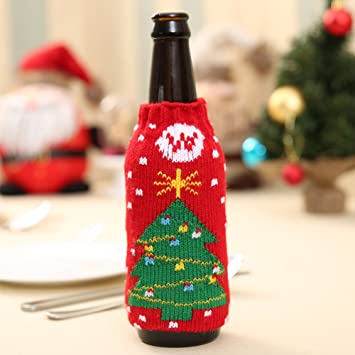 Amazon Zehui High Quality Knitted Christmas Beer Bottle Cover Impressive Decorate Beer Bottles For Christmas