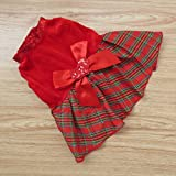 Tangpan Bow-knot Christmas Pet Costume Plaid Skirt Dog Clothes Santa Dog Dress Size S