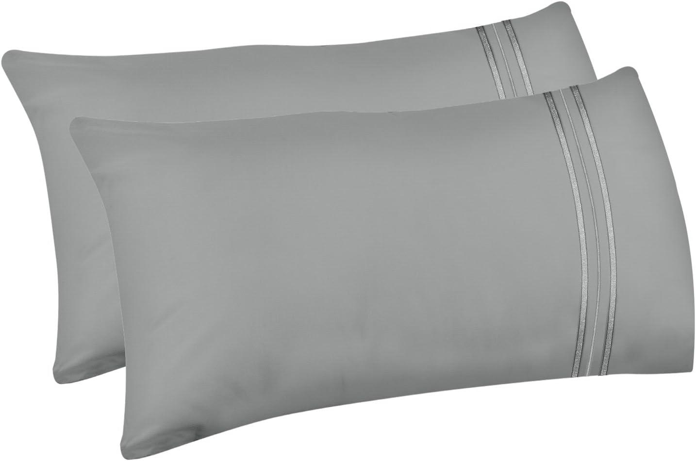 Lirex 2-Pack Fundas de Almohada, Tamaño Queen Fundas de Almohada de Microfibra Suave Cepillada, Transpirables sin Arrugas y Lavables a Máquina (Gris, Queen)