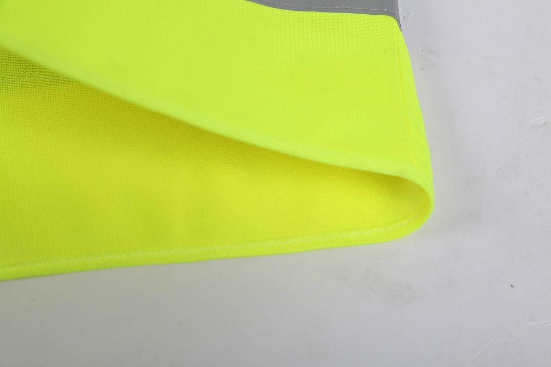 Frmarche Gilet de s/écurit/é Haute visibilit/é 360 /° Bandes R/éfl/échissantes Gilet Respirant Polyester Jaune Fluo Veste Gilet Avertissement pour Trafic Cyclisme Moto 1pcs