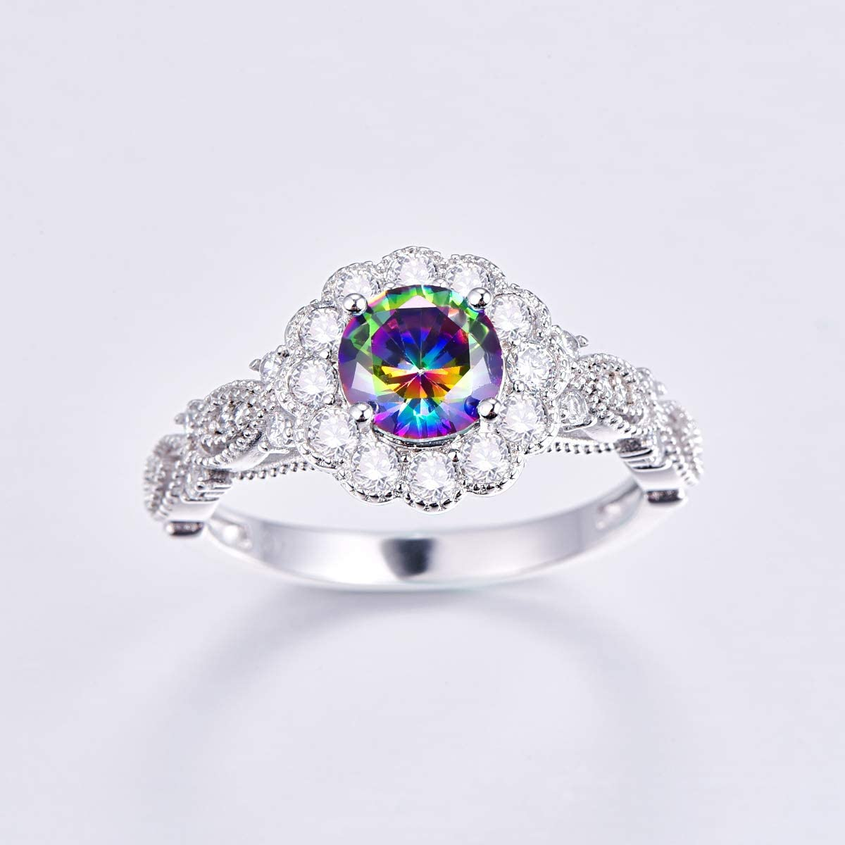 PAKULA 925 Sterling Silver Women Simulated Mystic Topaz Flower Halo Engagement Ring