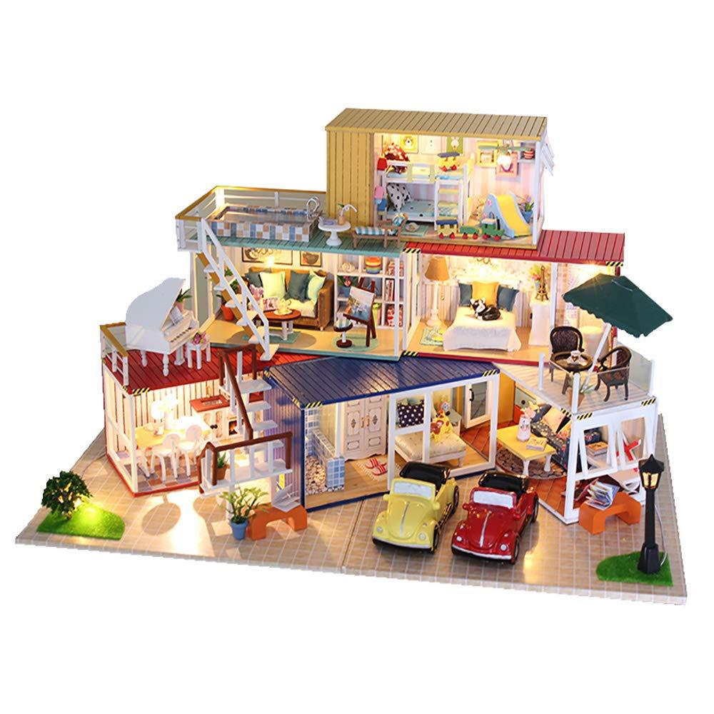 解凍ゲーム、大人の減圧玩具手作りのミニチュア木製の家だけで時間家の装飾 (音楽、ライト、透明カバー付き)   B07R1J8LRW, 亜東書店-:f1b80212 --- m2cweb.com