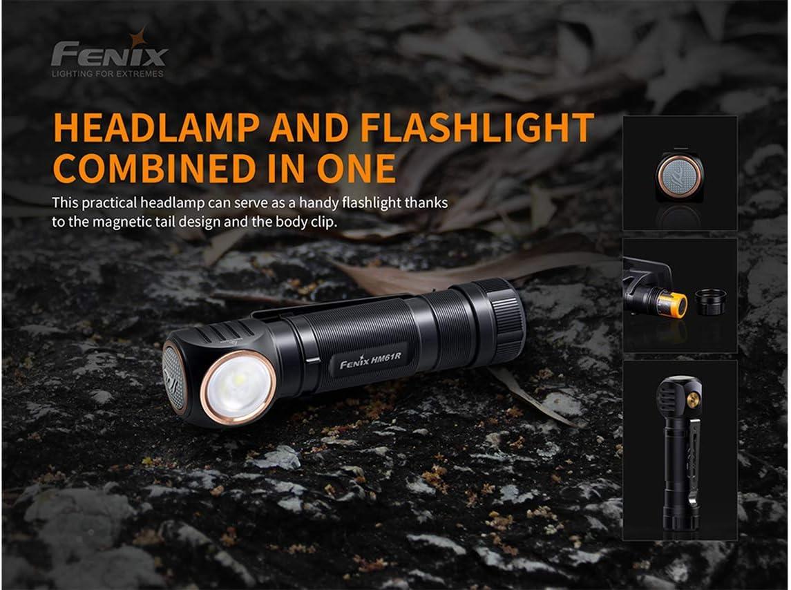 Fenix HM61R 1200 lumen LED Headlamp magnetic charging cable 2 X batteries with EdisonBright battery carry case bundle